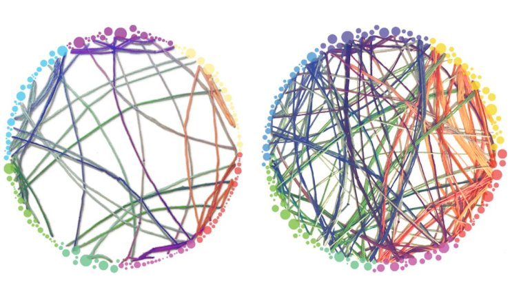 Communication between brain networks in people given psilocybin (right) or a non-psychedelic compound (left) (source: https://www.wired.com/2014/10/magic-mushroom-brain/)